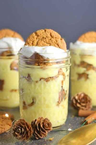 Eggnog Pudding Parfaits in mason jars