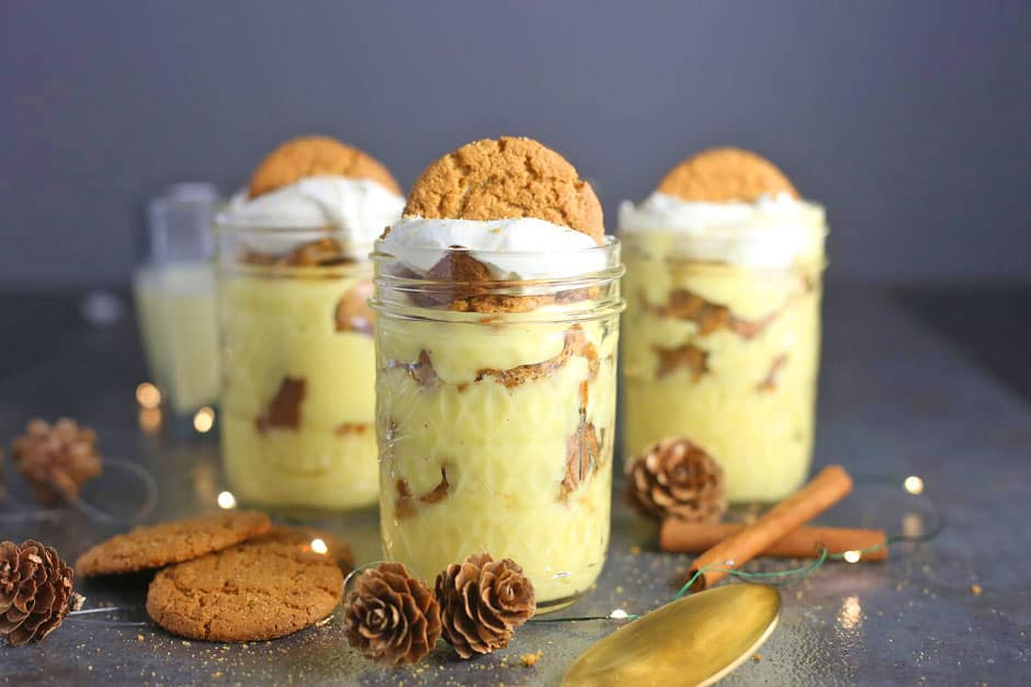 Eggnog Pudding Parfaits in mason jars