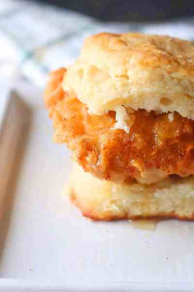 Fried Chicken Biscuit Breakfast Sandwich