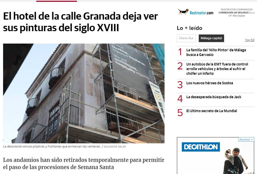 B/SV Arquitectos está llevando a cabo una rehabilitación integral de un edificio del siglo XVIII de gran valor arquitectónico en la calle Granada de Málaga, que será un hotel de lujo y que incluye la restauración de las pinturas de la fachada
