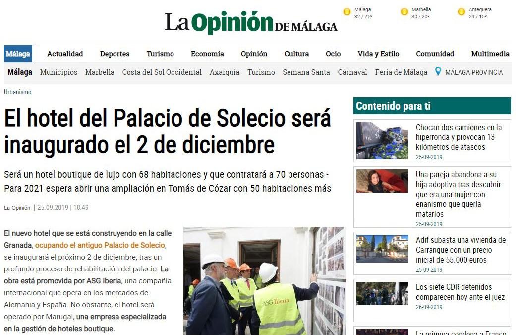 El alcalde de Málaga visita la obra del hotel del Palacio de Solecio, rehabilitado por B/SV Arquitectos
