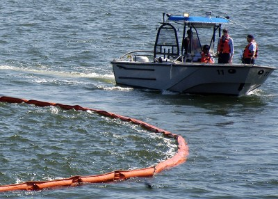 Naval oil spill containment training