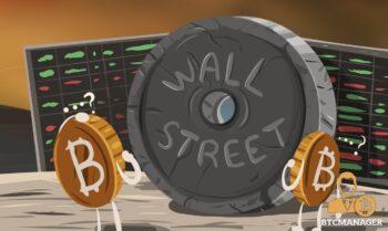 Bitcoins Scratching Head Stone Wheel Wall Street