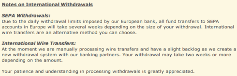 Guidelines for international withdrawals from Mt. Gox. A large porportion of transactions for Mt. Gox are international since the exchange is based in Japan. Source: Mt. Go