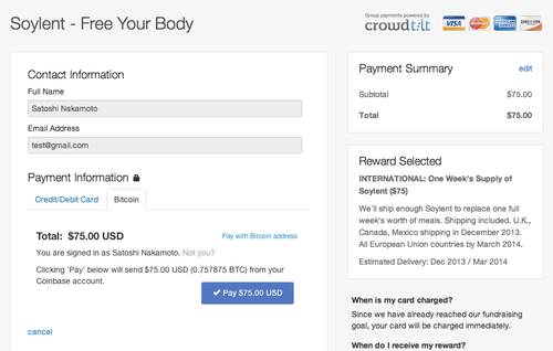 CrowdTilt (and Soylent) Are Now Accepting Bitcoin Via Coinbase!