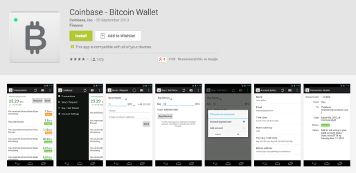 The Coinbase Android app