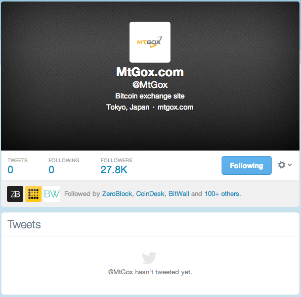 All Mt. Gox Twitter Posts Removed