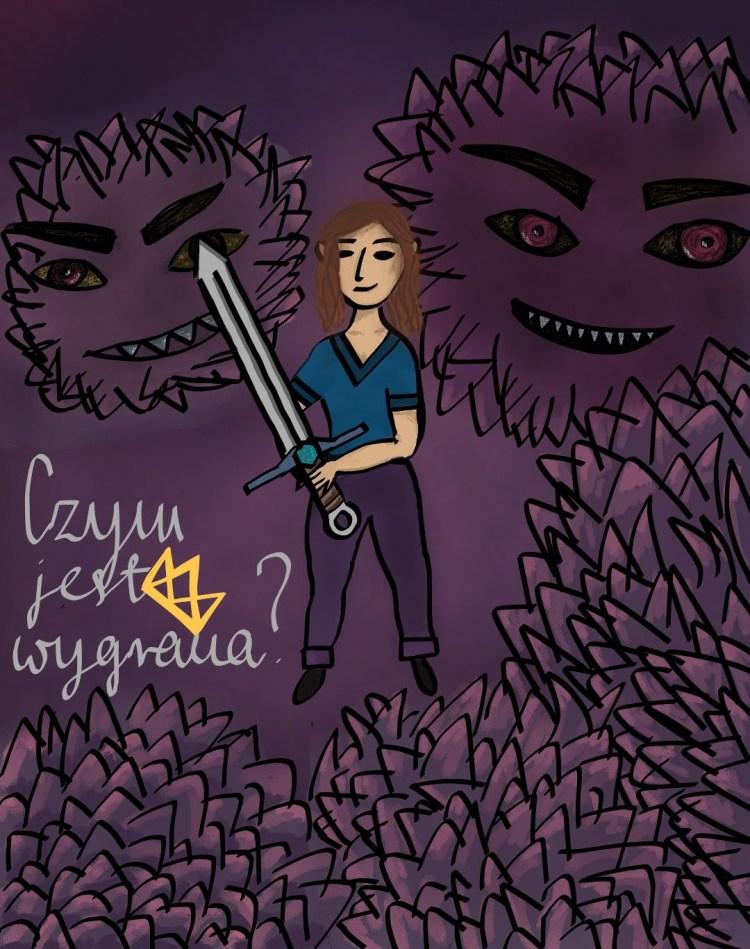 Zośka Wojowniczka - ręcznie rysowane - własna grafika - walka z lękami - bthegreat.pl