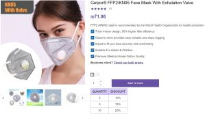 Getzor Protective KN95 Face Mask