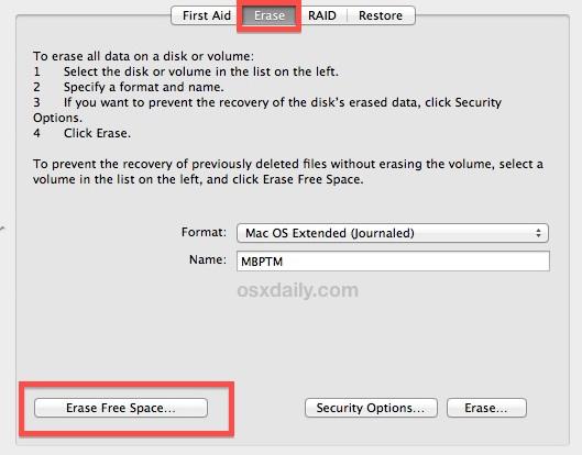 Удалите свободное место на жестком диске Mac с помощью дисковой утилиты OS X, чтобы предотвратить восстановление файлов