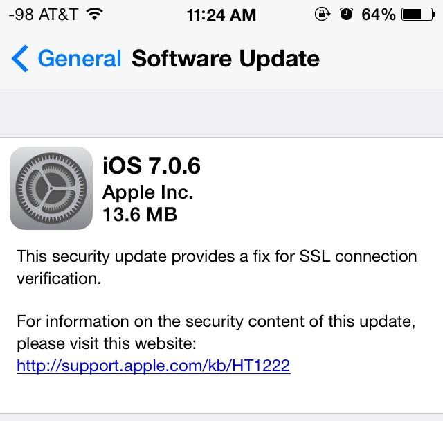 iOS 7.0.6 выпущена с важным исправлением безопасности для iPhone, iPad и iPod touch