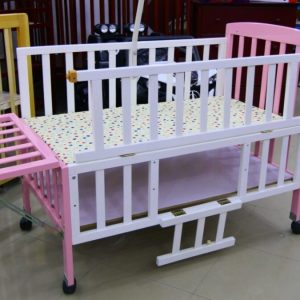 Pink & White Wooden Cot