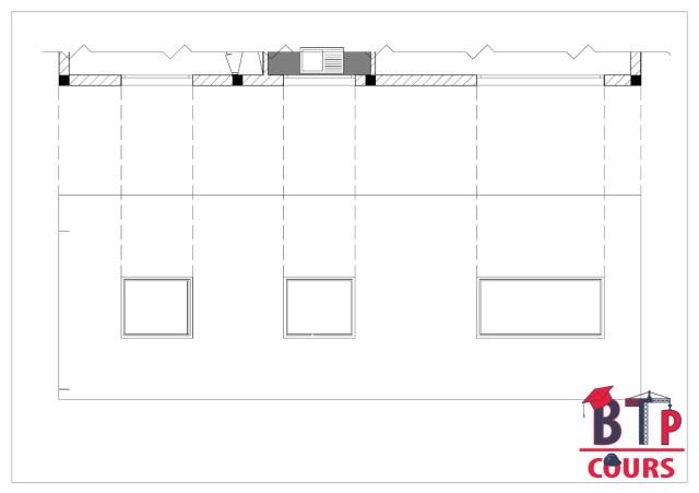 dessin de la façade a partir de la vue ne plan