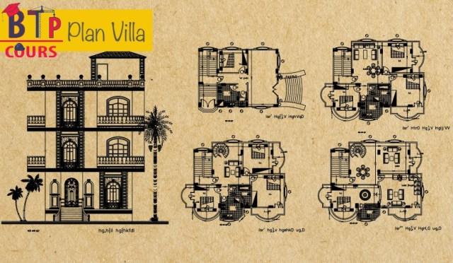 plan architecture d'une  villa
