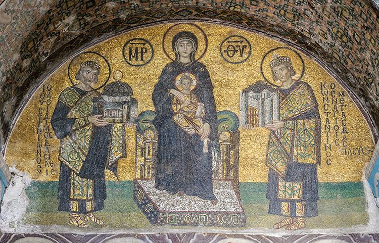 Mosaïques représentant Marie, Jésus, Justinien et Constantin
