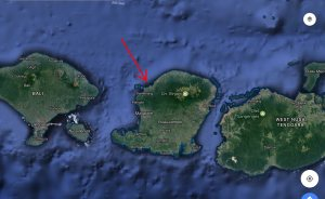 Location of 1.4 ht beachfront property, Lombok, Indonesia