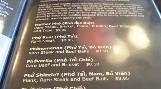 Phobulous - Pho Shizzle on the Menu