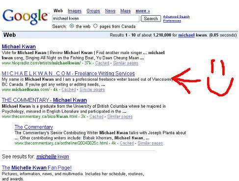 Search engine optimization: MichaelKwan.com hits #2