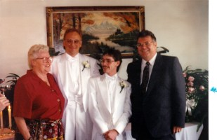 My friend Patti and I at our first gay wedding (before it was legal - 1983?)