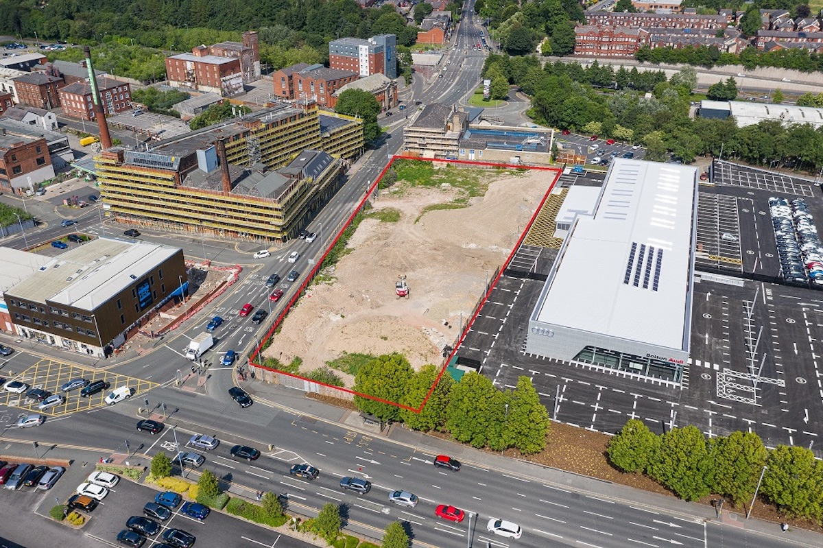 Aerial view of the land acquired at the junction of Lower Bridgeman Street and Manchester Road in Bolton.