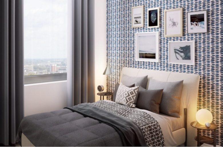 Bedroom at Knight House development, Birmingham