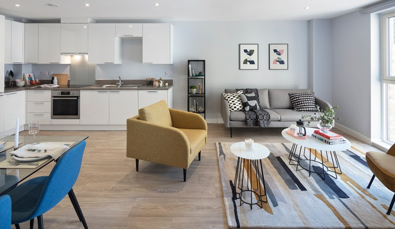 Open plan living, Clippers Quay BTR scheme