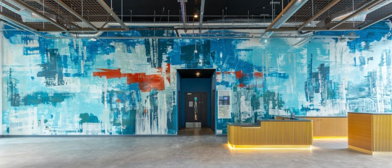 Monumental contemporary abstract fresco installed at The Green Rooms by Aster Muro | BTR News