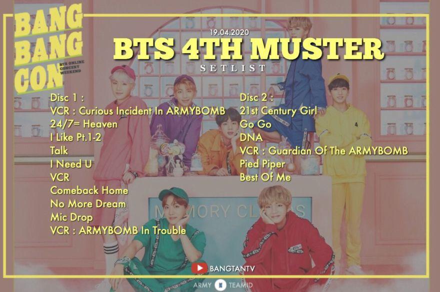 BTS 4TH MUSTER セットリスト