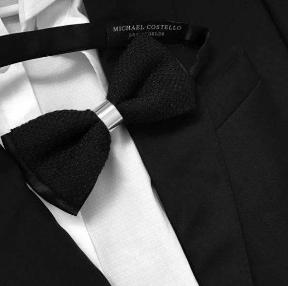 Black Brocade Silver Bar Bow Tie by Michael Costello