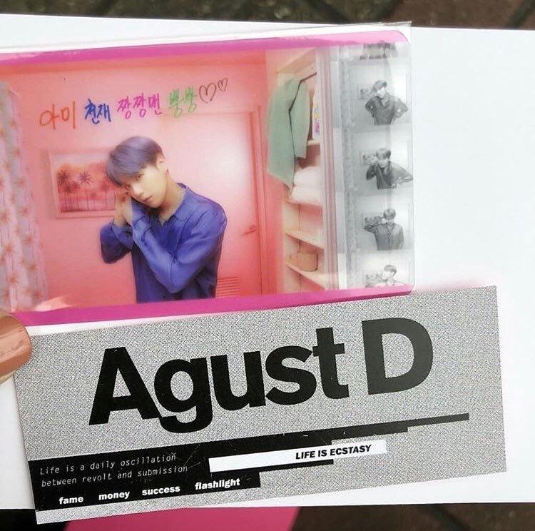透明トレカ「アミ天才チャンチャンメンプンプン♡♡」・Agust Dカード (ユンギからの逆サポート)