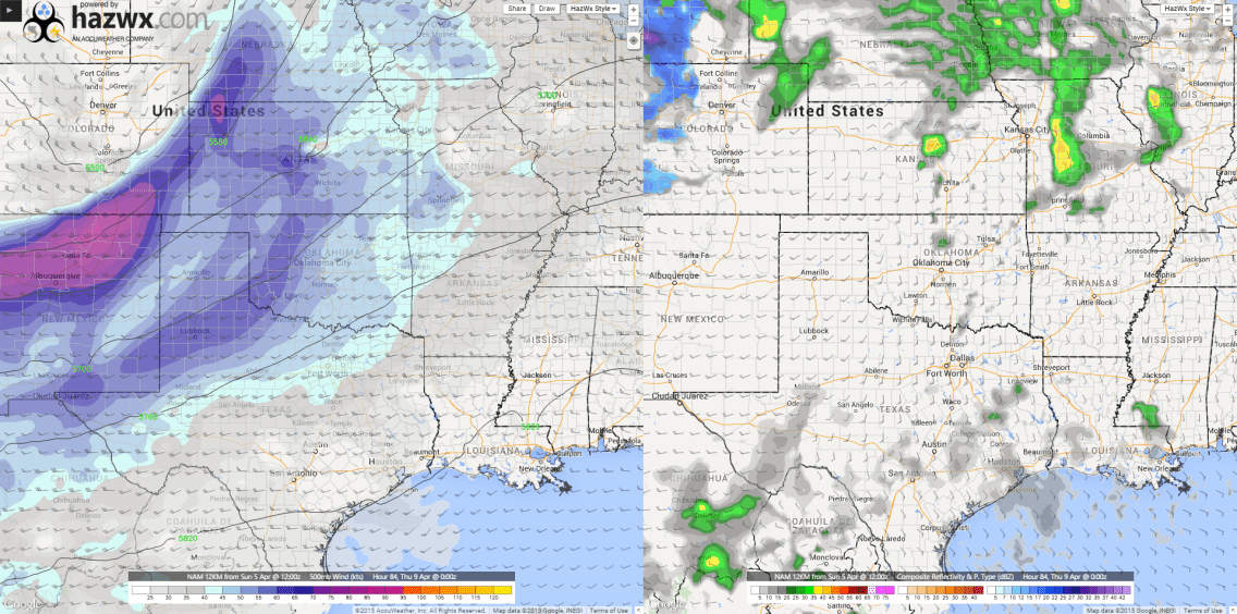 7pm Weds - 500/Reflectivity - NAM12