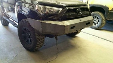 Steel bumper before paint on front end