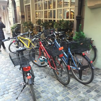 Despite the cobblestone streets, bicycles seemed to be the primary mode of transportation.