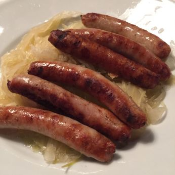 The standard order is 6 mini brats and sauerkraut
