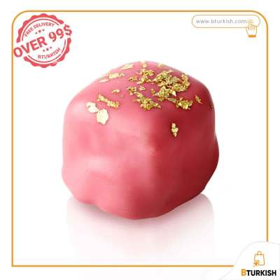 Selamlique Rose Turkish Delight - Chocolate-covered Turkish delight with rose-almond garnished with gold dust
