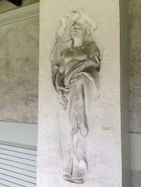 Frances Parkman Memorial, author of 'Oregon Trail,' Jamaica Plain Massachusetts 1906, reads the plaque by this relief sculpture in the outside wall of French's studio.