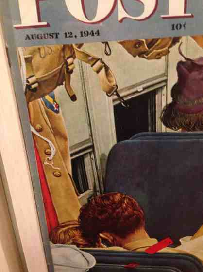 In a detail of one of his Saturday Evening Post Covers, Norman Rockwell shows a soldier and his young woman on a train. Photo by Kate Abbott