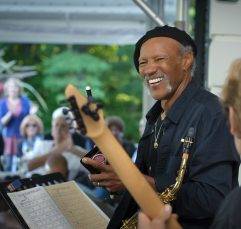 Music After Hours concerts bring live performers to the Mount in Lenox; here jazz saxophonist Charles Neville relaxes after a tune. Photo by John Seakwood, courtesy of The Mount