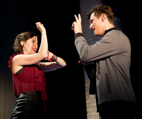 """Joshua Castille as Billy and Eli Pauley as Sylvia appear in Nina Raine's """"Tribes"""" at Barrington Stage Company. Photo by Scott Barrow, coutesy of BSC."""