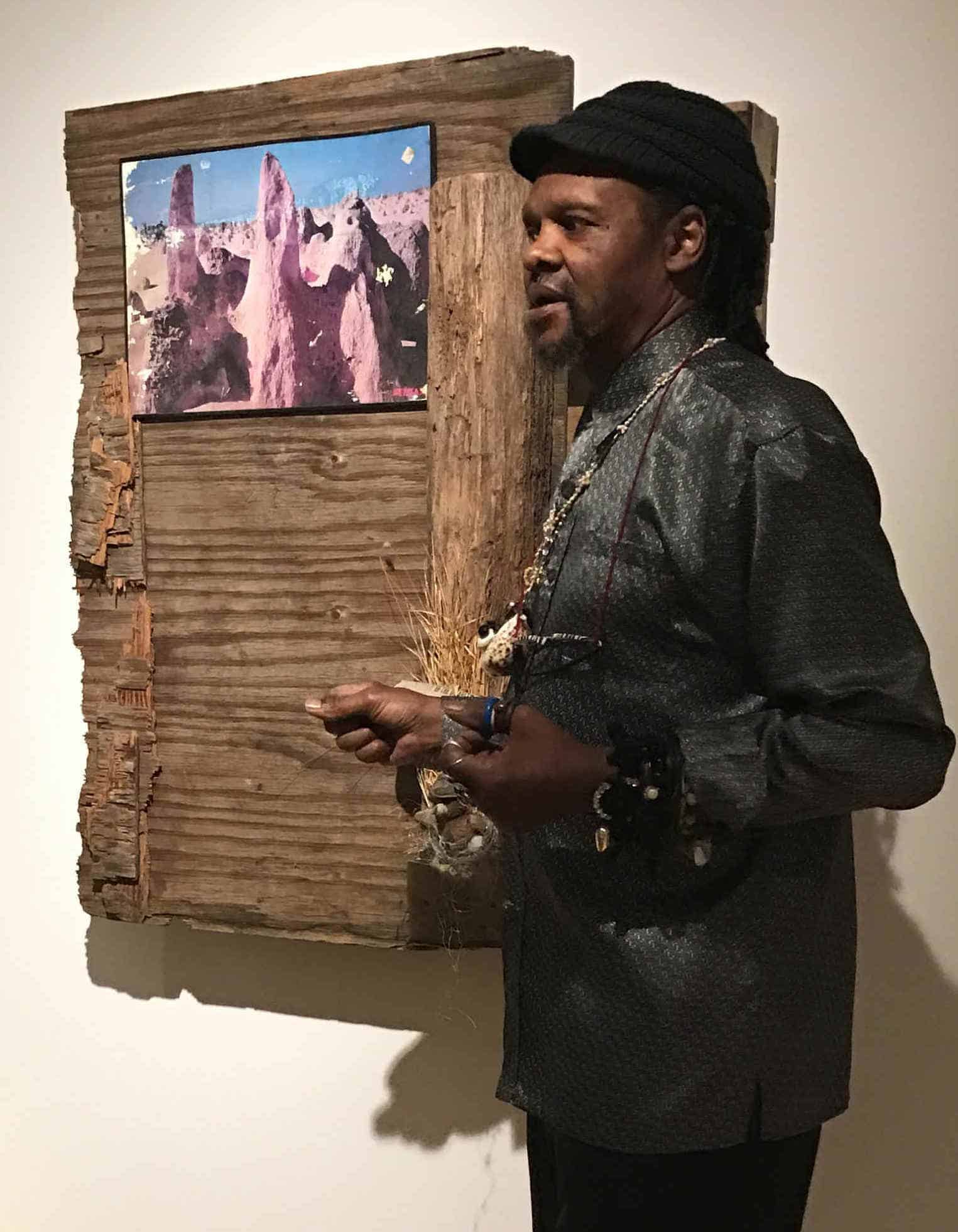 Lonnie Holley talks about his work in a collaboration with Dawn DeDeaux, Thumbs Up for the Mothership, in Mass MoCA's new Building 6. Photo by Kate Abbott