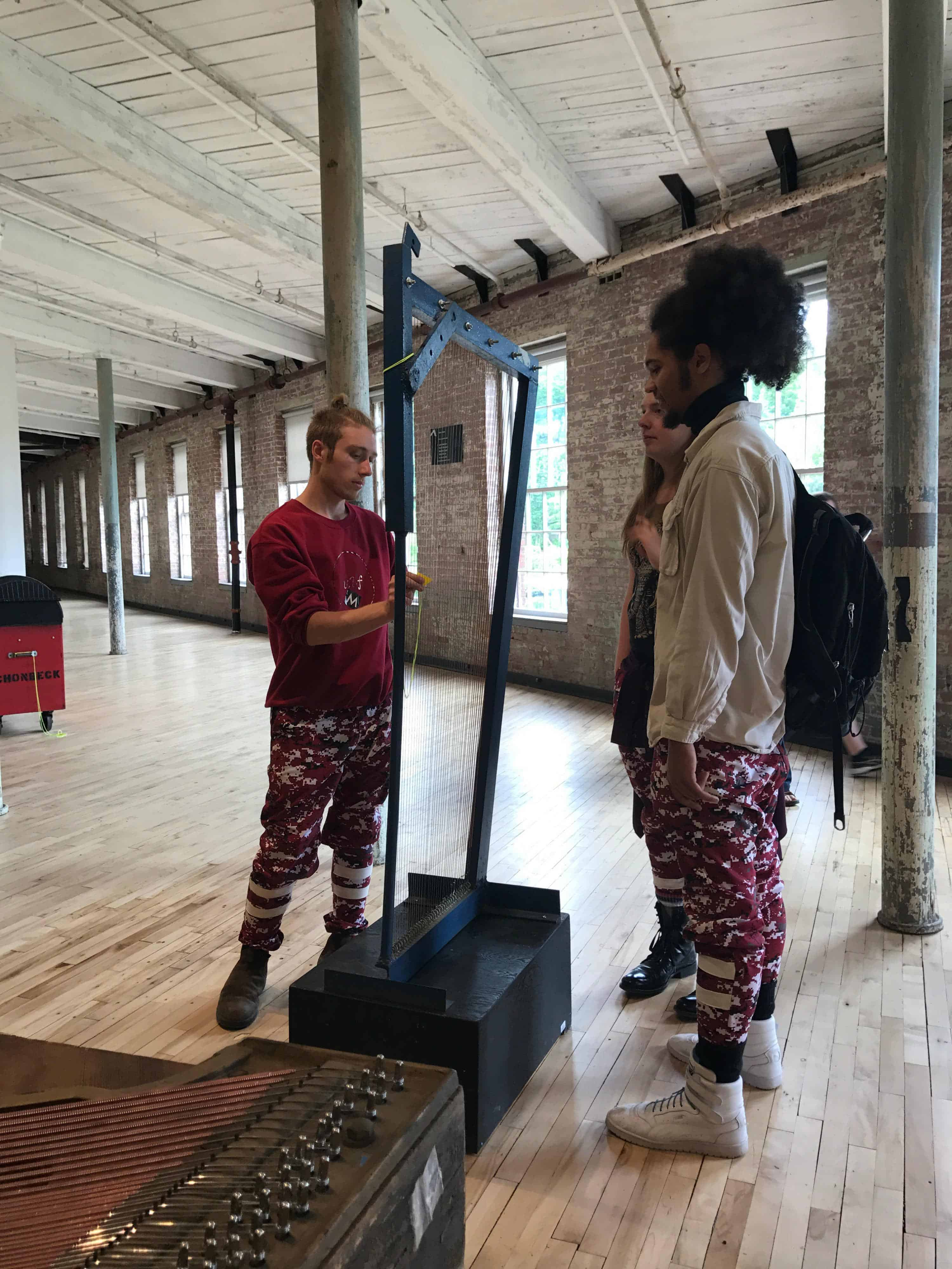 Gunnar Schonbeck's mammoth instruments give invite play in No Experience Necessary in MoCA's new Building 6. Photo by Kate Abbott