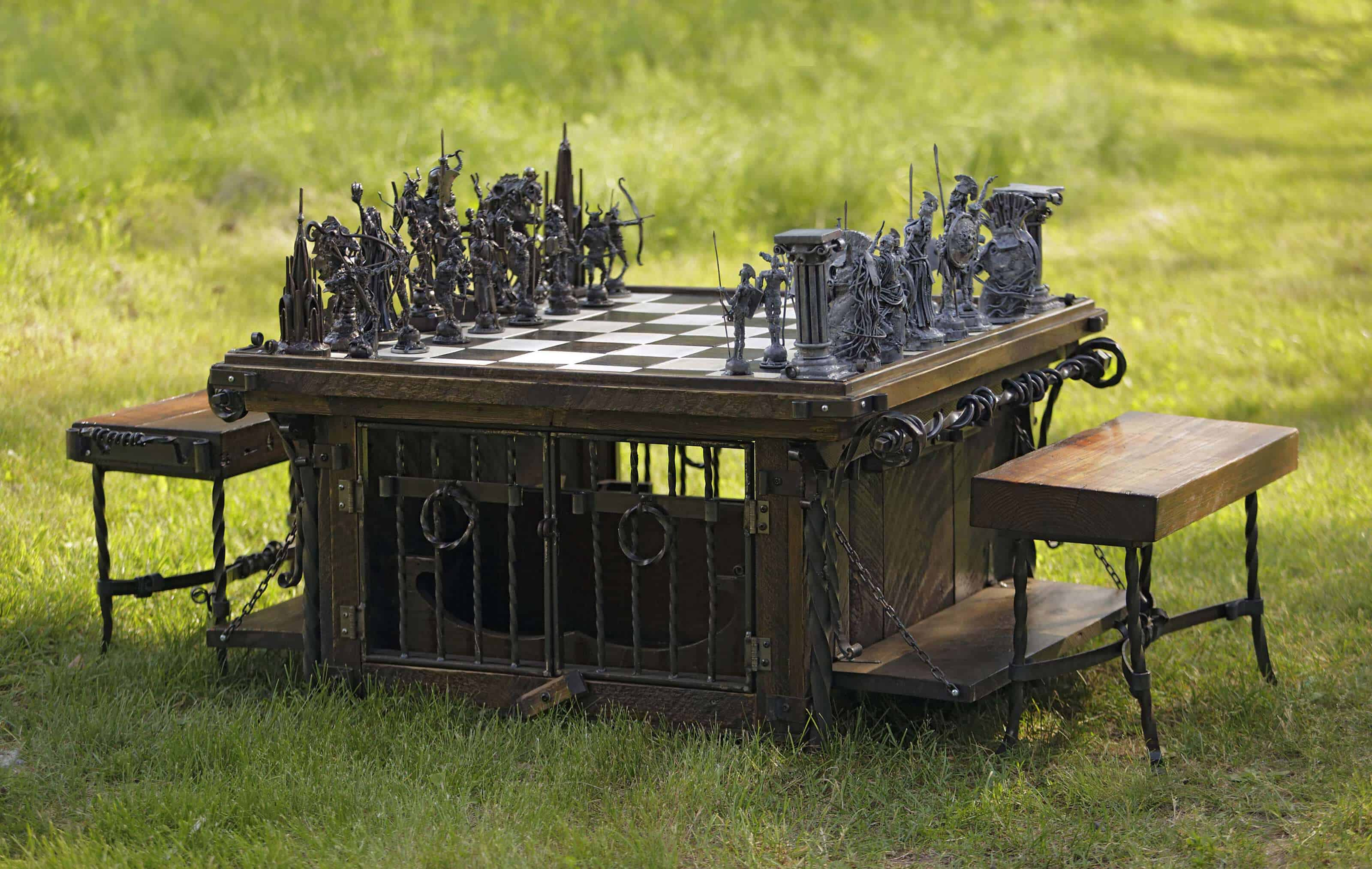 Take warriors from ancient Greece, put them in an epic battle with medieval knights, add the imagination of metal sculptor Matthew Evald Johnson, and the result is Chess mastery. Photo courtesy of Paradise City Arts Festival in Northampton