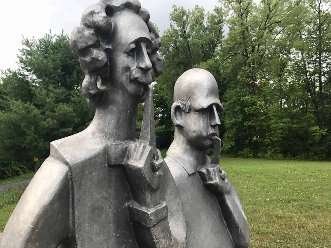 Vladimir Lemport's sculpture of Albert Einstein and Niels Bohr greets visitors to Turn Park. Photo by Kate Abbott