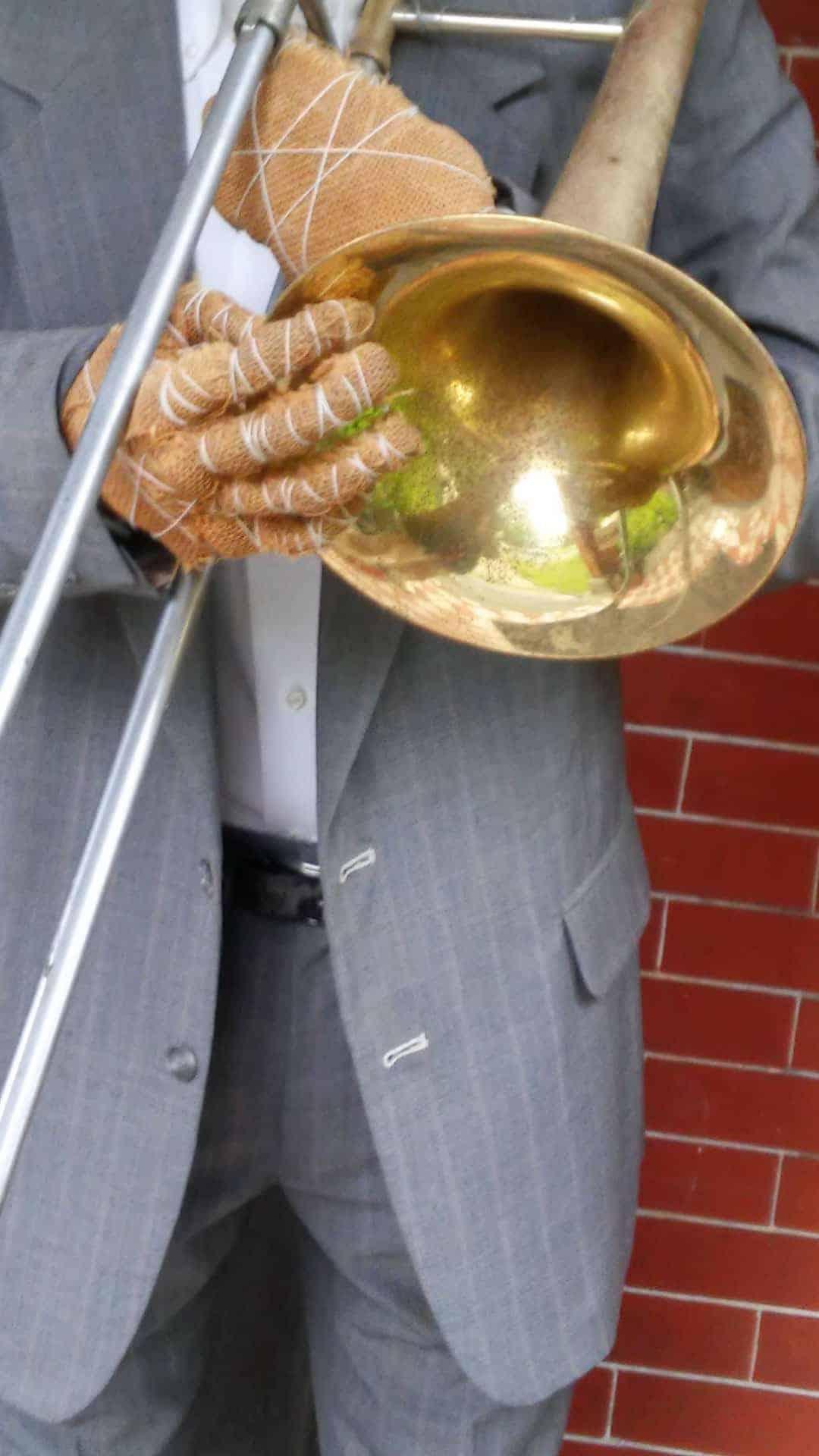 Mr. Earl plays jazz trombone — (hint) near the Berkshire Athenaeum. Photo by Thom Smith