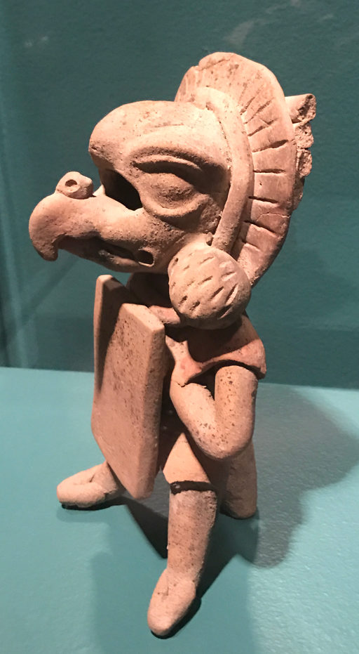 This bird-headed warrior from central Veracruz is a ceramic whistle from 150 to 400 CE. Soldiers may have played whistles like these on the way to battle. On loan from Yale University Art Gallery. Photo by Kate Abbott