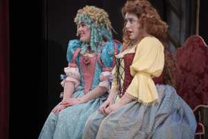 Nicole Jones as Mariane and Evelyn Mahon as Dorine in Tartuffe at Williams college. Photo by Keith Forman, courtesy of the '62 Center