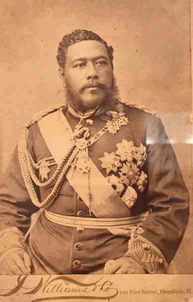 King Kalakaua ruled 1874 to 1891. Image in The Field Is the World at the Williams College Museum of Art.