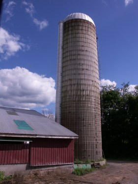 A silo touches the fall sky at Cricket Creek Farm. Photo by Thom Smith, courtesy of the artist