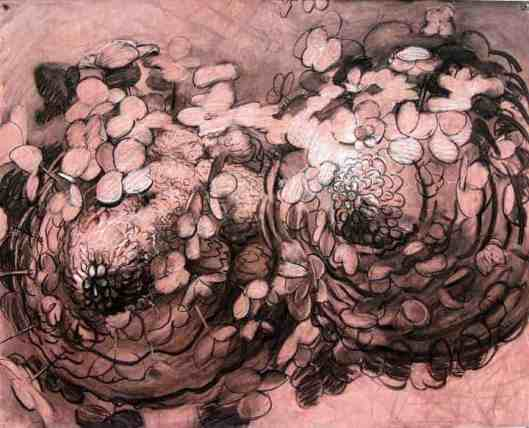 Mike Glier's 'Hydrangea,' in charcoal and acrylic on paper, appears in Ecophilia at the Berkshire Botanical Garden. Courtesy of the artist and BBG.