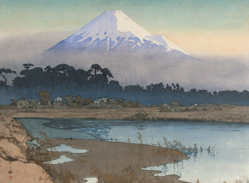 Yoshida Hiroshi, 1876-1950, Fujiyama-First Light of the Sun, 1926. Courtesy of the Hyde Collection and the University of Syracuse